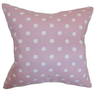 Nancy Dots 22-inch Down Feather Throw Pillow Pink White