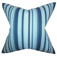 Gautier Stripes 22-inch Down Feather Throw Pillow Blue