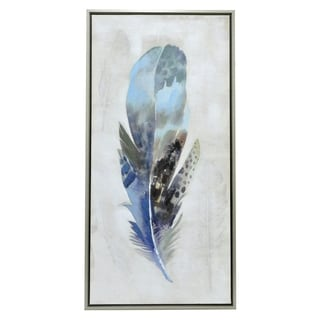 Three Hands 'Blue Feather' Embellished Canvas Oil Painting
