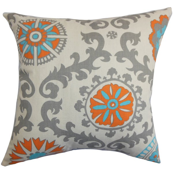 "Kaula Geometric 22"" x 22"" Down Feather Throw Pillow Mandarin"