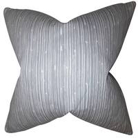 Hecuba Stripes 22-inch Down Feather Throw Pillow Light Gray