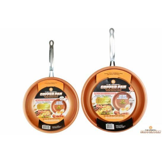 original copper pan 10inch and 12inch round pans set of 2