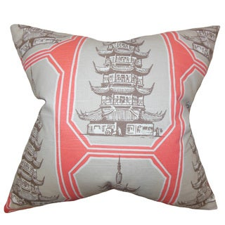 Chakra Geometric 22-inch Down Feather Throw Pillow Gray Pink