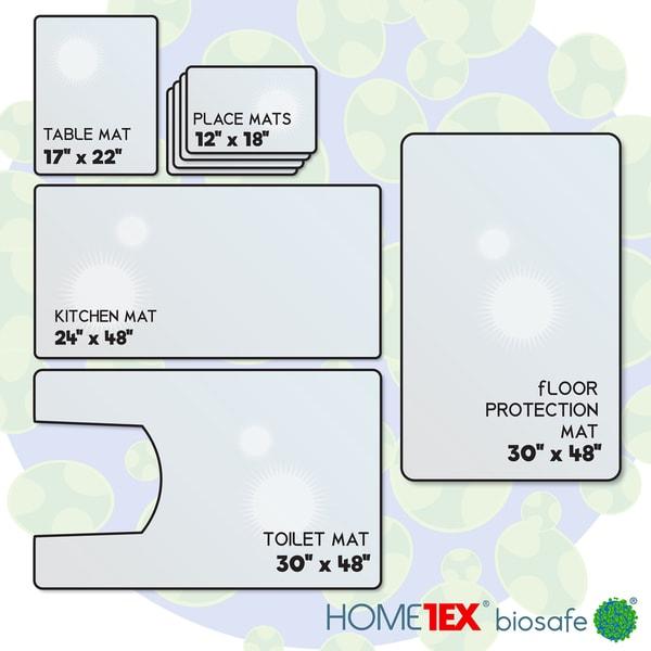 Biosafe Anti-Microbial Home Starter Mat Set: 4 Place Mats, Kitchen Mat,  Table Mat, Toilet Mat, Floor Protection Mat