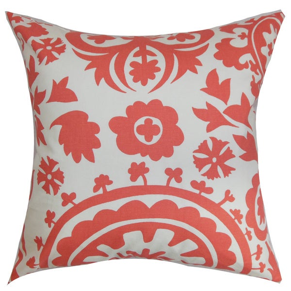 Wella Floral 22-inch Down Feather Throw Pillow Coral White