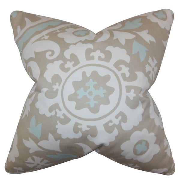 Wella Floral 22-inch Down Feather Throw Pillow Powder Blue