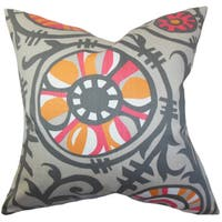 Janek Floral 22-inch Down Feather Throw Pillow Gray