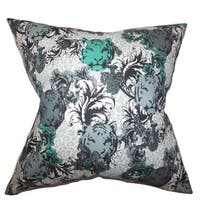 Eavan Floral 22-inch Down Feather Throw Pillow Gray