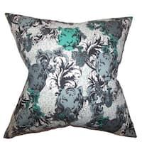 Eavan Floral 22-inch Down Feather Throw Pillow Gray