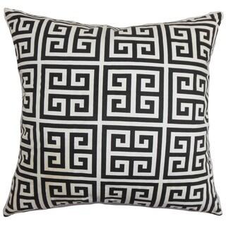 Paros Greek Key 22-inch Down Feather Throw Pillow Black White