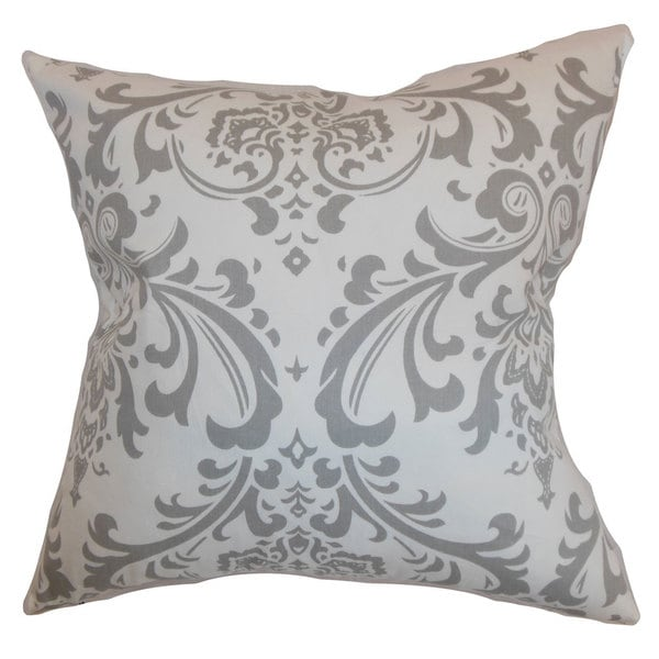 Olavarria Damask 22-inch Down Feather Throw Pillow Storm Twill