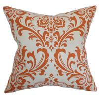 """Olavarria Damask 22"""" x 22"""" Down Feather Throw Pillow Orange Natural"""