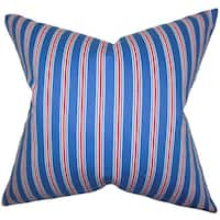 Corliss Stripes 22-inch Down Feather Throw Pillow Blue