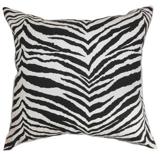 Cecania Zebra Print 22-inch Down Feather Throw Pillow Black White