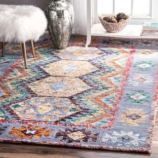 nuLOOM Handmade Contemporary Abstract Tribal Wool Multi Rug (7'6 x 9'6)