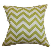 Xayabury Zigzag 22-inch Down Feather Throw Pillow Village Green Natural