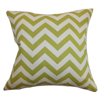 Xayabury Zigzag 22-inch Down Feather Throw Pillow Village Green Natural