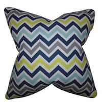 Howel Zigzag 22-inch Down Feather Throw Pillow Navy