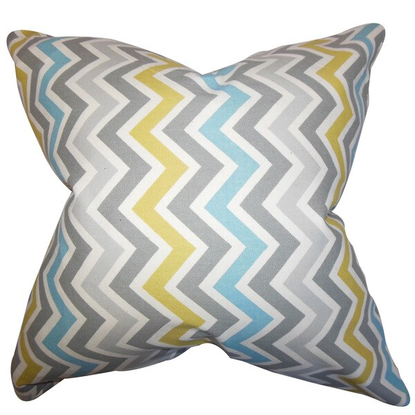 "Howel Zigzag 22"" x 22"" Down Feather Throw Pillow Gray Blue"