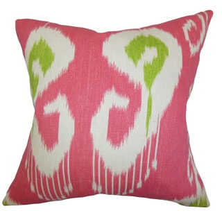 Cleon Ikat 22-inch Down Feather Throw Pillow Pink