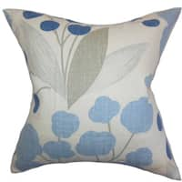 Geneen Floral 22-inch Down Feather Throw Pillow Blue