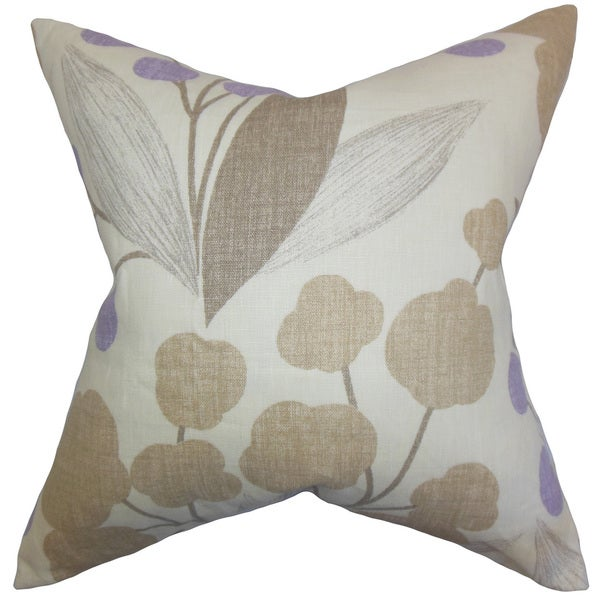 Geneen Floral 22-inch Down Feather Throw Pillow Wisteria