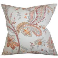 "Dilys Floral 22"" x 22"" Down Feather Throw Pillow Orange"