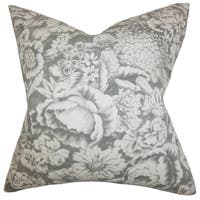 Elspeth Floral 22-inch Down Feather Throw Pillow Gray