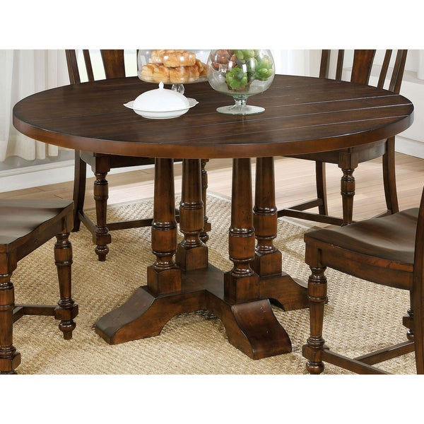 lumin rustic country style plank top brown cherry round dining table