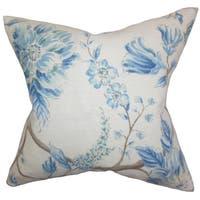 """Ivria Floral 22"""" x 22"""" Down Feather Throw Pillow Lake"""