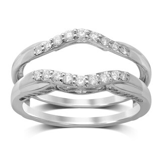 Unending Love 14k White Gold 1/4ct TDW TDW Diamond Wedding Enhancer Guard Double Ring