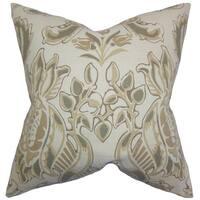 Kiriah Floral 22-inch Down Feather Throw Pillow Sandalwood