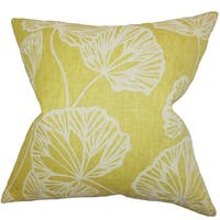 "Fia Floral 22"" x 22"" Down Feather Throw Pillow Yellow"