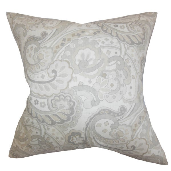 Iphigenia Floral 22-inch Down Feather Throw Pillow Gray