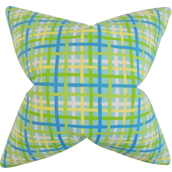 "Manon Plaid 22"" x 22"" Down Feather Throw Pillow Turquoise"