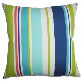 Ibbie Stripes 22-inch Down Feather Throw Pillow Turquoise Blue