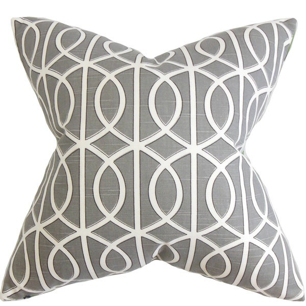 "Lior Geometric 22"" x 22"" Down Feather Throw Pillow Gray White"