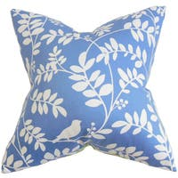 Nyssa Floral 22-inch Down Feather Throw Pillow Blue