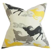 Naenia Animal Print 22-inch Down Feather Throw Pillow Yellow