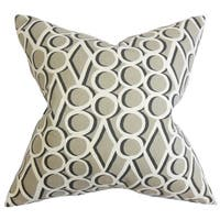 Blaise Geometric 22-inch Down Feather Throw Pillow Gray