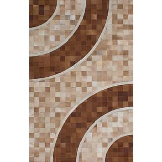 Ecarpetgallery Handmade Cowhide Patchwork Brown Ivory Leather Rug (5' x 7'11)