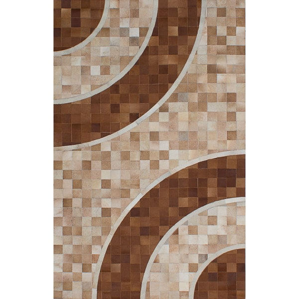 Ecarpetgallery Handmade Cowhide Patchwork Brown Ivory Leather Rug - 5' x 7'11