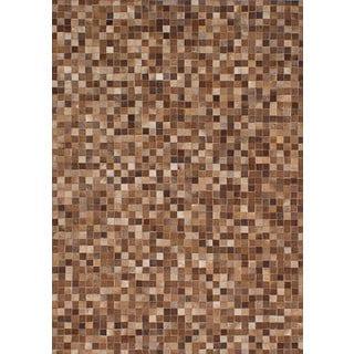 EcarpetGallery Patchwork Brown Cowhide Leather Handmade Rug (4'7 x 6'5)