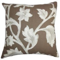 """Taina Floral 22"""" x 22"""" Down Feather Throw Pillow Brown"""