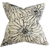 Phedora Floral 22-inch Down Feather Throw Pillow Black White