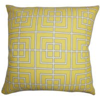 "Sanaa Geometric Outdoor 22"" x 22"" Down Feather Throw Pillow Yellow"