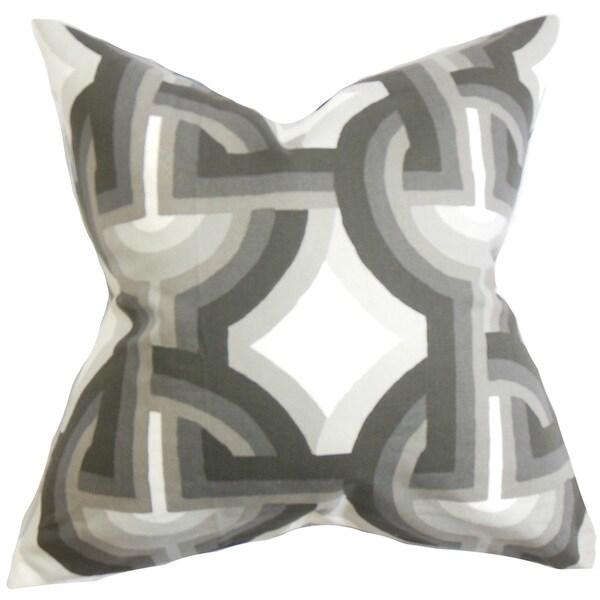 Rineke Geometric 22-inch Down Feather Throw Pillow Gray White