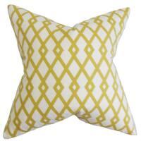 """Tova Geometric 22"""" x 22"""" Down Feather Throw Pillow Yellow"""