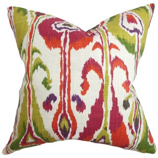 "Gudrun Ikat 22"" x 22"" Down Feather Throw Pillow Pink"