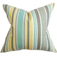 """Manila Stripe 22"""" x 22"""" Down Feather Throw Pillow Gray"""
